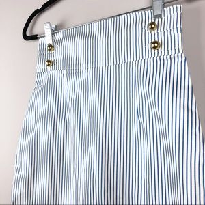 H&M Blue Pinstripe Skirt with Gold Buttons